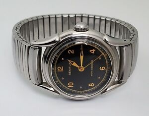 BENRUS VINTAGE MENS MILITARY STYLE WRISTWATCH Ref.1256 - GILT BLACK DIAL