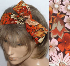 VINTAGE 70s FLORAL COTTON HANDMADE BENDY HAIR WRAP WIRED SCARF HEADBAND E176