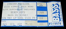 The Beach Boys 1981 Original Concert Ticket Stub * Concord California