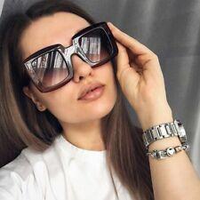 Sunglasses Women Square Oversized Lens Gradient Sunnies Black Leopard UV400