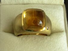H. STERN  Cabochon Dome Ring Yellow Gold 18k Citrine Gemstone with Diamond S 7