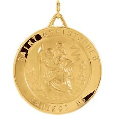 St Christopher Medal 20mm 14K Yellow or White Gold Round Protect Us R5024