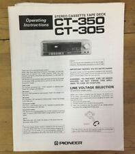 Vintage Instruction / User Manual for Pioneer CT-350 / CT-305 Tape Deck