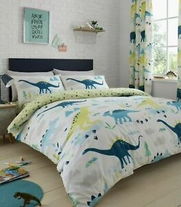 Kids Chilren's Boys Dinosaur Reversible Duvet Quilt Cover Bed Sets OR Curtains