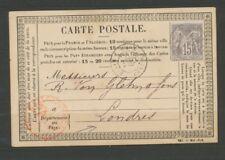 CP 1876 pour LONDRES obl Bureau annexe Gare du Nord Ouest Ind 23 RARE P1625
