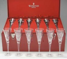 Waterford Crystal Twelve 12 Days Of Christmas Flutes Glasses Set In Wooden Nib