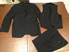 "HUGO BOSS 100% Virgin Wool ""Super 100"" Black 3-Piece Suit Size 38R Pants 33X29"