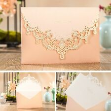 50 x Pink Laser Cut Wedding Invitations Engagement Party Invite Blank Cards 2017