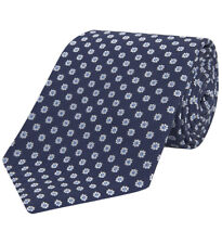 Turnbull & Asser Floral Navy And White Jacquard Silk Tie 8 cm