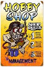 Hot Rod Body Shop Rules Hobby Metal Sign Man Cave Garage Club Wall Decor MLK116