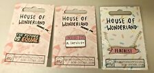 House of Wonderland Woman's Rights Feminist Enamel Lapel Pins and Necklace Set