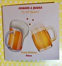 Cheers and beers birthday card for Men - 22nd/25th/30th/35th/40th/45th/50th