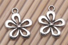 Wholesale 200 PCS Tibetan silver Crafts Flowers Jewelry Making Charms Pendants