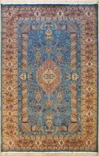 Rugstc 6x9 Pak Persian Blue Area Rug, Hand-Knotted,Floral with Silk/Wool Pile