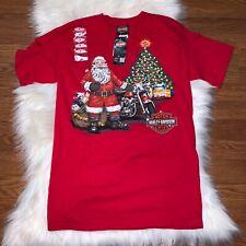 Harley Davidson Small Be Good Santa Christmas Red T-Shirt Beaumont, Texas Cowboy