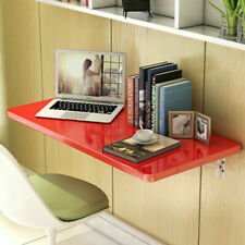 Red Wall Mount Floating Folding Computer Desk Home Office Laptop Table 60cmx40cm