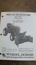 Wheel Horse Parts List & Instructions Manual Model 6-6213 Snow Thrower C Series