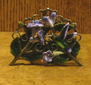 Welforth Pewter Business Card Holder #H391 HUMMINGBIRD with FLOWERS, NEW/Box