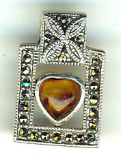 "925 Sterling Silver Heart Shaped Amber & Marcasite Pendant     Length 1""   25mm"