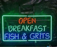 "Open Breakfast Fish Grits Neon Light Sign 24""x20"" Beer Bar Decor Lamp"