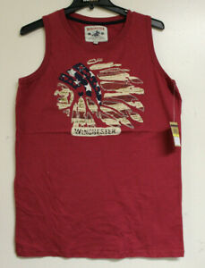 Winchester Mens Native American Graphic Red Sleeveless T-Shirt Tank Top Size M