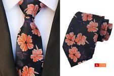 Noir, Bleu et fleur orange à motifs fait main 8 cm Cravate 100% soie