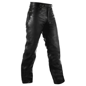 Pantaloni pelle moto Custom  Chopper Jeans 5 Tasche Jeans Cuoio American