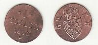 Cu 1 Heller 1840 Hessen-Darmstadt Ludwig II. AKS 117 gereinigt stampsdealer
