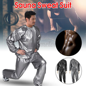 PVC Gym Sport Sweat Sauna Suit Fitness Loss Weight Exercise Training Tracksuit