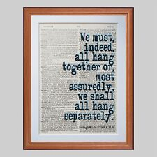 Citer Benjamin Franklin Dictionnaire page Art Imprimé-Cadeau Imprimé littéraire