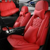 Red Car Seat Covers 5 Seats Universal Deluxe PU Leather Cushion Full Set Cover