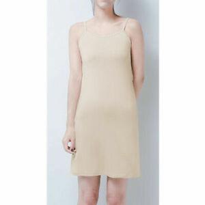 Women's Summer Solid Color Dress Strap Long Vest Chemise Midi Petticoat Nightie