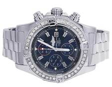 Mens Breitling A13370 Super Avenger XL 48MM Stainless Steel Diamond Watch 4.5 Ct