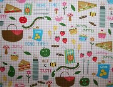 "Picnic Food on Pink background Timeless Treasures Picnic Time Fun BTFQ 18"" x 21"""