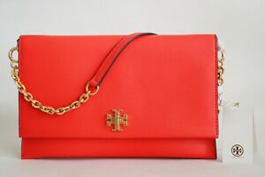 NWT TORY BURCH KIRA LEATHER CONVERTIBLE CLUTCH SHOULDER BAG POPPY RED