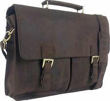"UNICORN Real Leather 16.4"" Laptop Bag Netbook Messenger Briefcase Brown #4F"