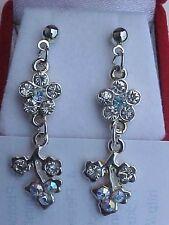"""Australian Crystal Earrings Silver Flower Pierced Dangles 1-1/2"""" NEW"""