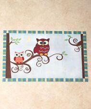 Owl Bath Collection Floor Mat 2 Hand Colorful Bird Bath Decor Complete Set