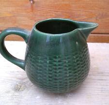 Pot à eau, broc en terre vernissée vert,  Savoie art pop