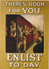 ROBERT  OPIE  ADVERTISING  POSTCARD  -  THERE'S  ROOM  FOR  YOU  ENLIST  TO-DAY