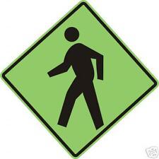 REAL PEDESTRIAN CROSSING STREET TRAFFIC SIGN
