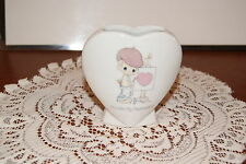 "Vintage.1985.Precious Moments.""You Are My Masterpiece"".Heart Shaped Vase"