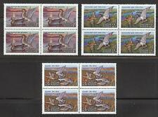 Russia 1992  Sc# 6090-92 set  Ducks blocks of 4  MNH