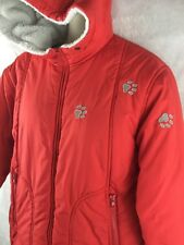 Hummelsheim  Red Hooded Winter Coat W/ Dog Paw Prints Applique Woman's Size M