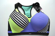 Victorias Secret INCREDIBLE Sports Bra 34DDD Purple Yellow Black Stripes NWT!