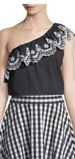 NEW Kate Spade One Shoulder Cutwork Top Black XL
