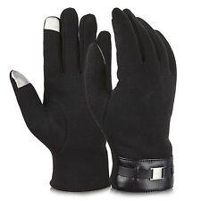 Mens Winter Gloves | Texting Mittens | Warm Cold Weather Gloves | Black