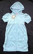 NWT Juicy Couture New Genuine Girls Age 8 Blue Hooded Velour Sun Dress With Logo