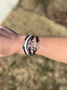 Women's Navy Blue and White Leather Bracelet with Silver Anchor Compass Infinity