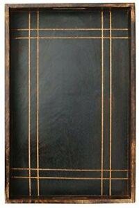 Wood Serving Tray with Handles Large Dark Brown Decorative Vintage Look 17x11